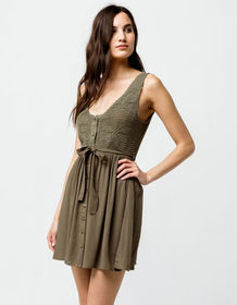 SKY AND SPARROW Crochet Tie Waist Olive Dress_