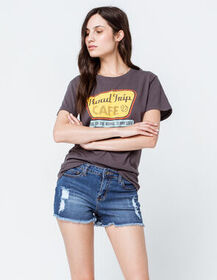 OTHERS FOLLOW Frayed Womens Ripped Denim Shorts_