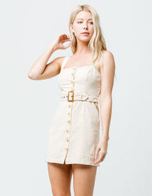SKY AND SPARROW Button Front Belted Cream Dress_