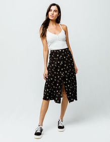 SKY AND SPARROW Floral Button Front Midi Skirt_