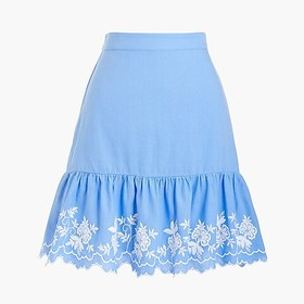 J. Crew Factory Embroidered mini skirt in cotton-l