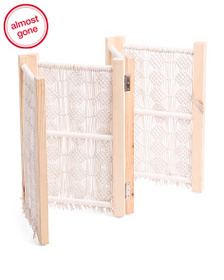 HANDCRAFTED IN INDIA Fabric And Wood Pet Gate