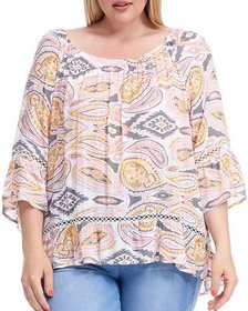 Fever Plus Size Paisley Printed 3/4 Sleeve Blouse