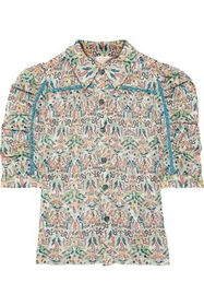 ANNA SUI Ruched printed fil coupé shirt