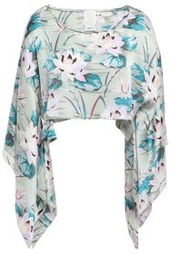 ANNA SUI Cropped draped floral-print silk-satin to