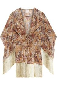 ANNA SUI Tie-front fringe-trimmed silk-blend chiff