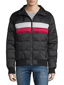 Tommy Hilfiger Midweight Striped Puffer Jacket RED