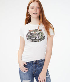 Aeropostale Floral Tiger Graphic Tee