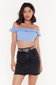 Nasty Gal Womens Blue The Frill of Love Off-the-Sh