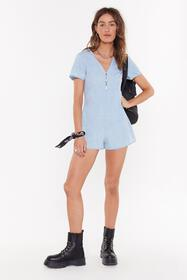Nasty Gal Womens Blue Playing Hard to Get Washed C