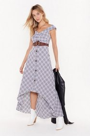 Nasty Gal Womens Black Check Midaxi Bardot Dress