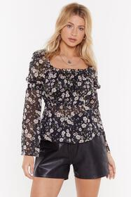 Nasty Gal Womens Black Floral Chiffon Ruched Blous