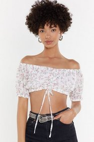 Nasty Gal Womens White Ruched Front Floral Bardot