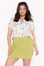 Nasty Gal Womens Lime Plus A line Linen Mini Skirt