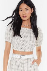 Nasty Gal Womens Beige Check Off The Shoulder Top