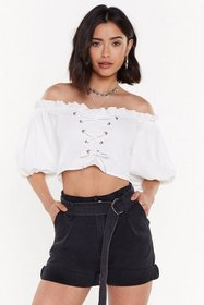 Nasty Gal Womens White Big Blouse Lace-Up Off-the-