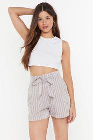Nasty Gal Womens Beige Just Your Stripe Paperbag S