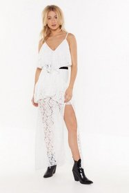 Nasty Gal Womens White In Lace You Forgot Tiered M