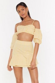 Nasty Gal Womens Yellow Square She Goes Gingham Co