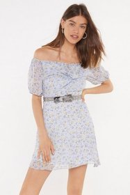 Nasty Gal Womens Blue Love Buzz Floral Off-the-Sho