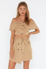Nasty Gal Womens Beige Button Love You More Belted