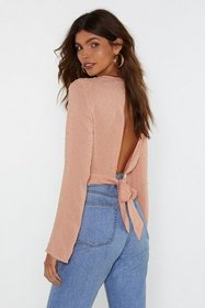 Nasty Gal Womens Peach Open Up to Me Textured Crop
