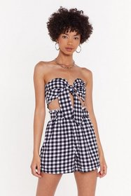 Nasty Gal Womens Black Gingham Tie Front Co-ord To