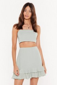 Nasty Gal Womens Sage Frill Got It Crinkle Crop To