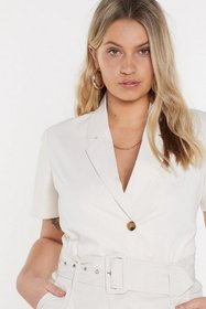 Nasty Gal Womens Ecru Life's too Short Cropped Shi