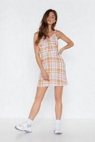 Nasty Gal Womens White Crinkle Twice Check Mini Dr