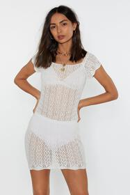 Nasty Gal Womens White Pointelle Off-Shoulder Body