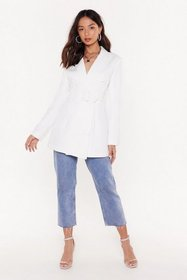 Nasty Gal Womens White Work It Belted Double Breas