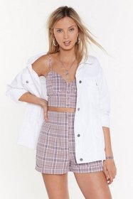 Nasty Gal Womens Lilac Checkmate Crop Button-Down