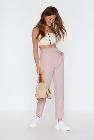 Nasty Gal Womens Blush In Check High-Waisted Taper