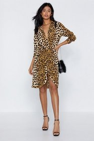 Nasty Gal Womens Camel Meow You See Me Leopard Dre
