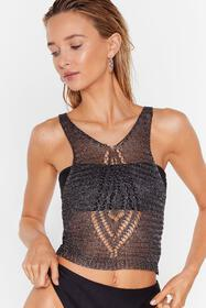 Nasty Gal Womens Charcoal Knit Down Metallic Cover