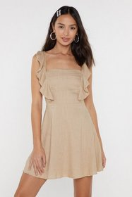 Nasty Gal Womens Stone Frilled You Came Ruffle Lin