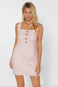 Nasty Gal Womens Nude Button the Run Mini Dress