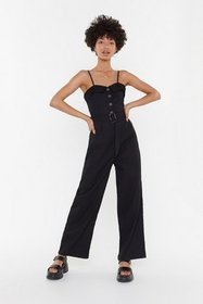 Nasty Gal Womens Black Holding It in Belted Wide-L