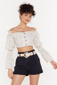 Nasty Gal Womens Ivory Ditsy Floral Button Down Ba