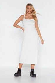 Nasty Gal Womens White At Least I Tied Linen Midi