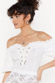Nasty Gal Womens White Jump Ship Off-the-Shoulder