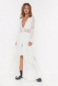 Nasty Gal Womens Off white Boho Lace Button Down M