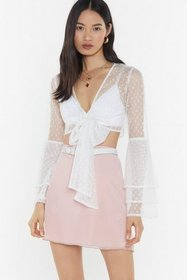 Nasty Gal Womens White Heart Mesh Frill Tie Front