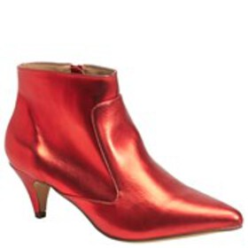Womens Faux Leather Metallic Booties