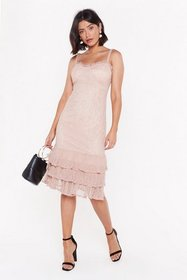 Nasty Gal Womens Oyster Frill Down Lace Maxi Dress