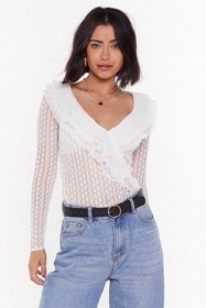 Nasty Gal Womens Ivory Lace That Feeling Ruffle Bl