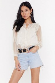 Nasty Gal Womens Cream Pearls On Film Mesh RuffleT
