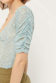 UO Cassi Printed Mesh Ruched Top