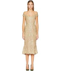Marchesa Corded Lace Off Shoulder Cocktail Dress w